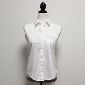Theory White Sleeveless Button Down Blouse
